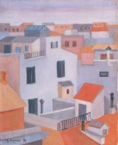 """Giuliana Caporali, """"Case romane"""", 1954 (esposto alla Biennale di Venezia del 1956)"""